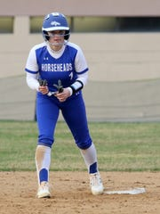 Horseheads senior Kendal Cook leads off second base against Vestal on April 30, 2019 at Horseheads Middle School.