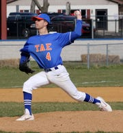 Xander Burch delivers a pitch for Thomas A. Edison in a 5-1 win over Lansing on April 11, 2019 in Elmira Heights.