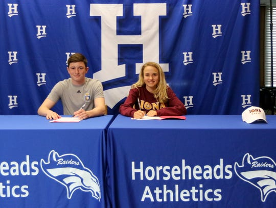 Horseheads seniors Devin Woodworth and Madison Klein at a signing ceremony April 11, 2019 at Horseheads High School.
