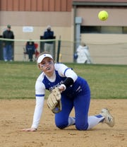 Horseheads shortstop Kendal Cook flips to third base for an out after making a diving stop against Elmira on April 11, 2019 at Ernie Davis Academy.