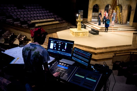 Maggie Ste. Marie, a senior studying theatre design and technology at the University of Evansville, runs tests on the stage lights as she prepares for the production of William Shakespeare's Twelfth Night inside Shanklin Theatre in Evansville, Ind., Thursday, April 11, 2019. The UE Department of Theatre will present the show starting Friday, April 19 through April 28.