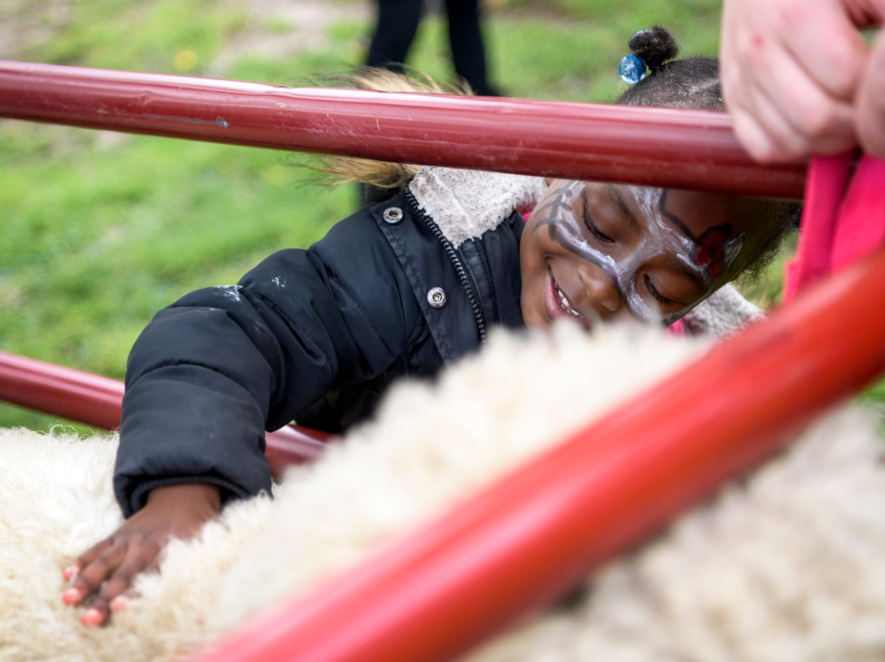 Amira Clemmons, 4, pets a sheep at the Lil' Rexing's Pony Express petting zoo booth during the Community Action Program of Evansville & Vanderburgh County's (CAPE) annual end of the year Family Fun Day at Wesselman Park in Evansville, Ind., Friday, April 12, 2019.