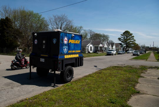 The Guardian, a neighborhood surveillance unit replete with cameras to record crime, is parked on E. Louisiana Street Wednesday morning. Residents can request the mobile unit to be parked on their streets with a call to the Evansville Police Department Crime Prevention Office at 812-435-6135.