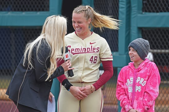 Hayden Stone (right) has grown particularly close with Florida State redshirt senior pitcher Meghan King.
