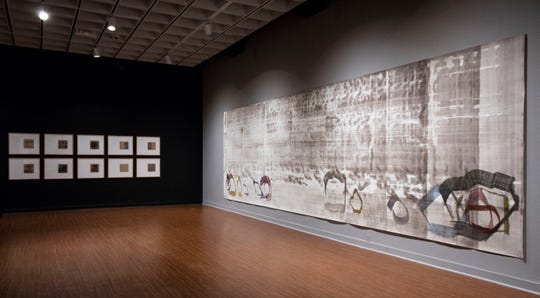 """John Cage's recently rediscovered 1990 painting, """"New River Rocks and Washes"""" debuted April 11 at Bob Rauschenberg Gallery."""