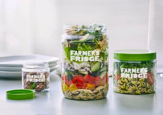 Farmer's Fridge vending machines are stocked with healthy items including salads, bowls and sandwiches.