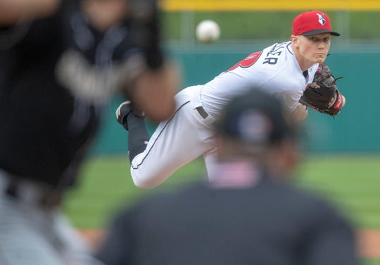 Mitch Keller, starting pitcher for Indianapolis, throws during Charlotte Knights at Indianapolis Indians, opening day for the Triple-A affiliate of Pittsburgh, at Victory Field, Indianapolis, Thursday, April 11, 2019.