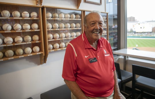 Roger Newnum, the host of the Max Schumacher suite, collects memorabilia, and built the oak cases that these baseballs are house in, Charlotte Knights at Indianapolis Indians, opening day for the Triple-A affiliate of Pittsburgh, at Victory Field, Indianapolis, Thursday, April 11, 2019.