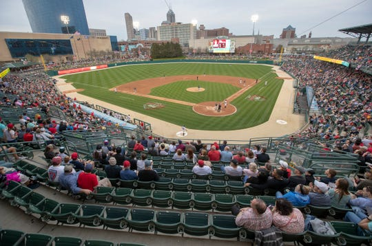 The view of the field during early inning action, Charlotte Knights at Indianapolis Indians, opening day for the Triple-A affiliate of Pittsburgh, at Victory Field, Indianapolis, Thursday, April 11, 2019.