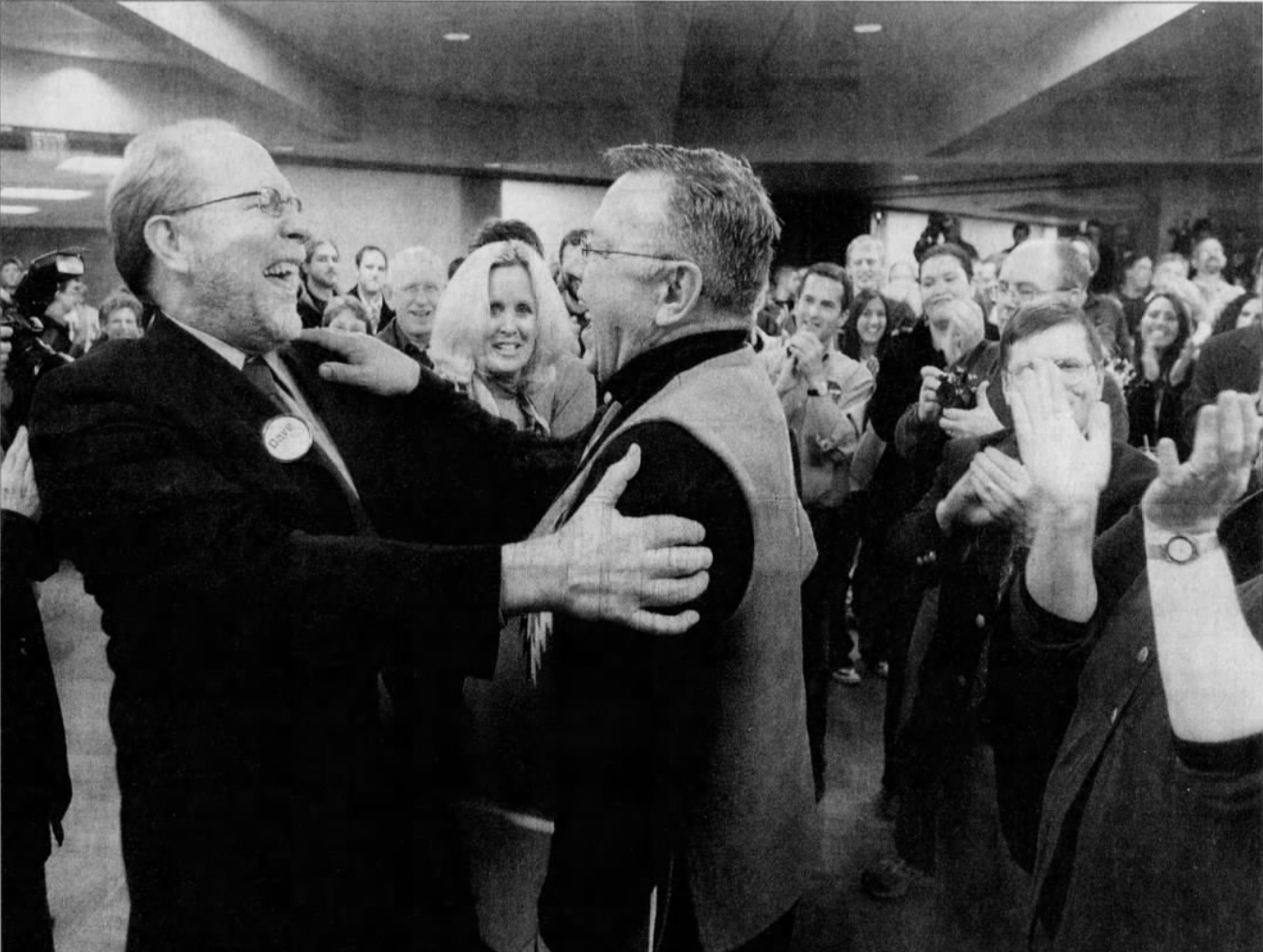 Congressman-elect Dave Loebsack greets supporters Tuesday night, Nov. 7, 2006, at hotelVetro in Iowa City. Loebsack defeated 30-year incumbent Jim Leach.