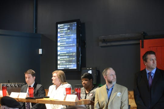 District 7 city council candidates are, from left: Kurt Mullen, Marda Wallace, Tracie Walker, Jeff Howell and Robert Spencer. They attended a Madison County Republican Party election forum at Rock N' Dough on April 8.