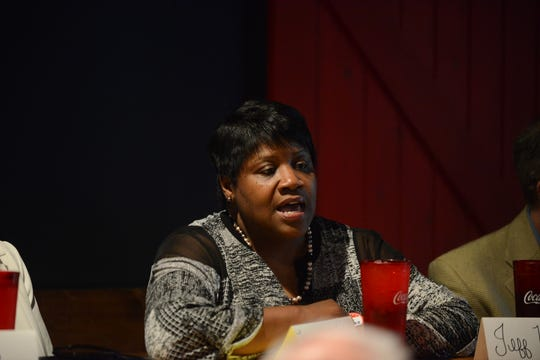 Jackson City Council District 7 candidate Tracie Walker answers a question during the Madison County Republican Party election forum at Rock N' Dough on April 8 in Jackson, Tenn.