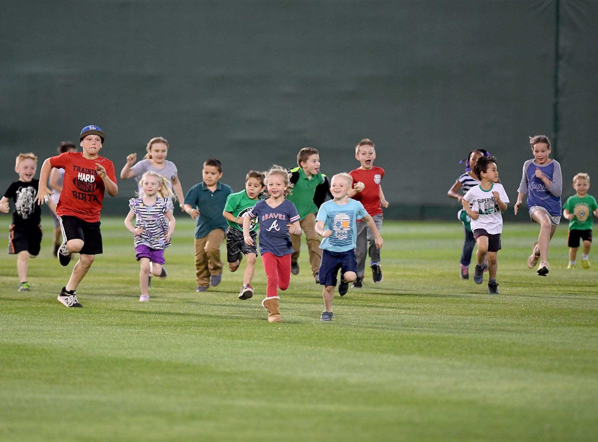 About 20 children participated in the General's Kids' Fruit Run between innings of the game against the Chattanooga Lookouts, Thursday, April 11.