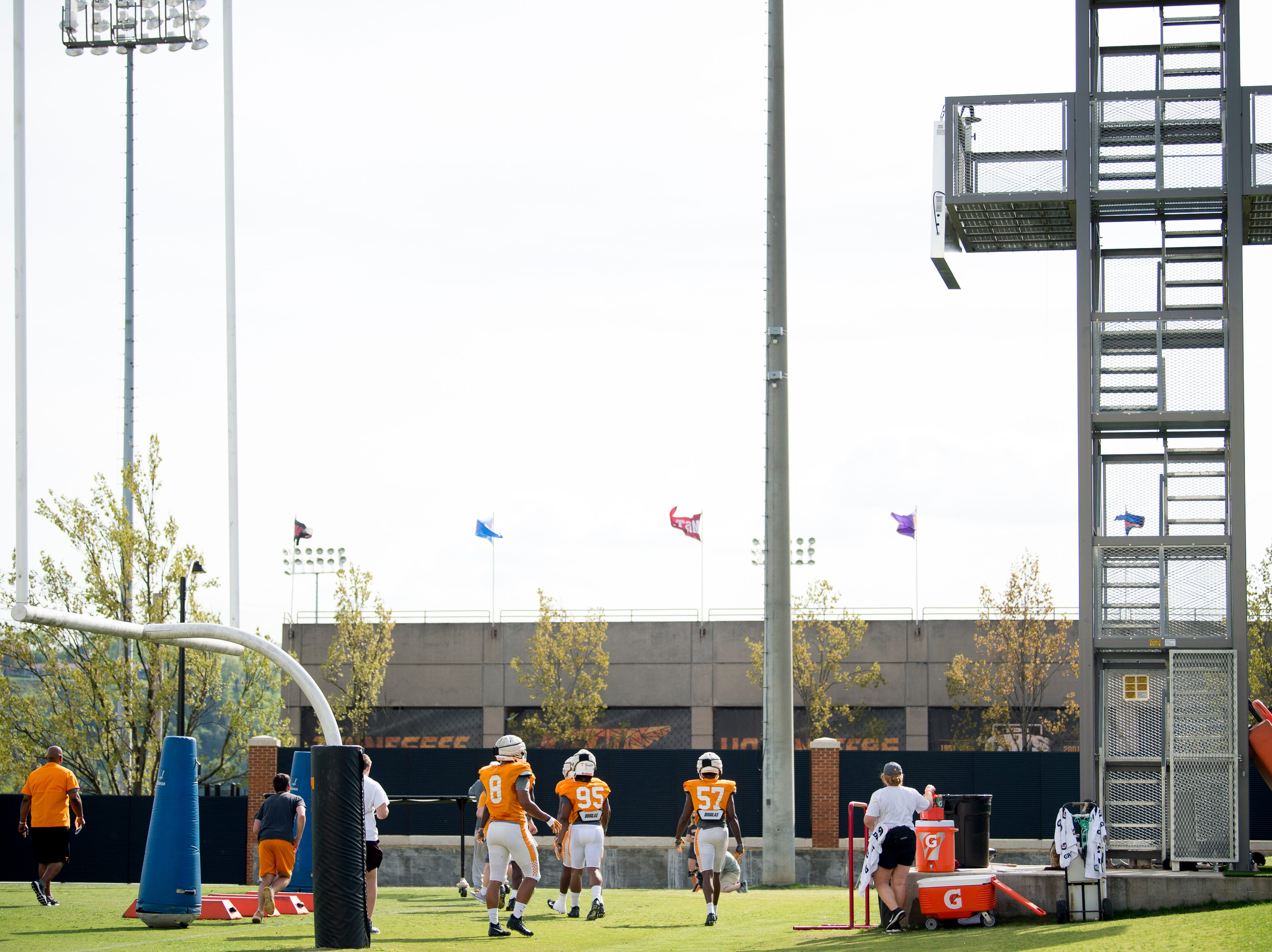 Players on the field during Tennessee spring practice at Haslam Field in Knoxville, Tennessee on Thursday, April 11, 2019.
