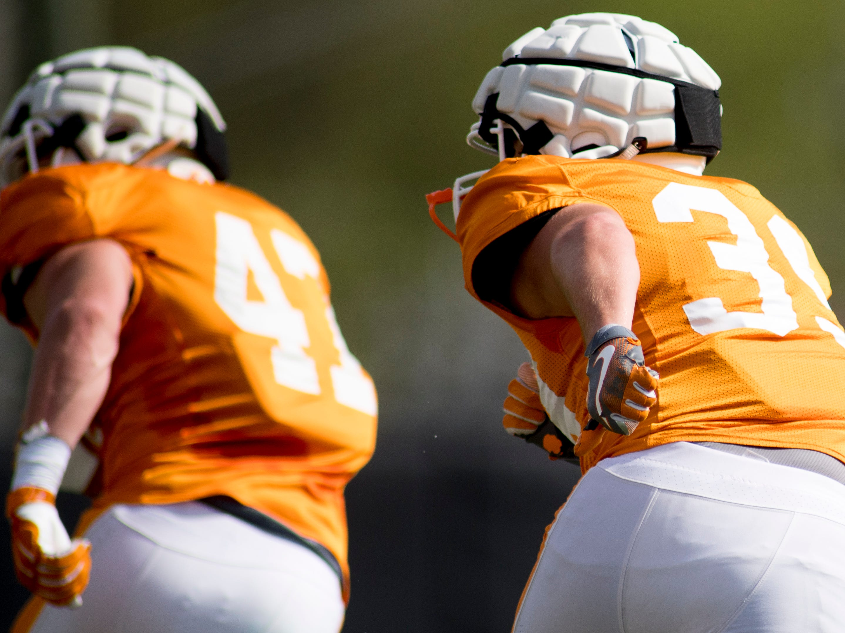Tennessee's West Shuler (39) does a drill during Tennessee spring practice at Haslam Field in Knoxville, Tennessee on Thursday, April 11, 2019.
