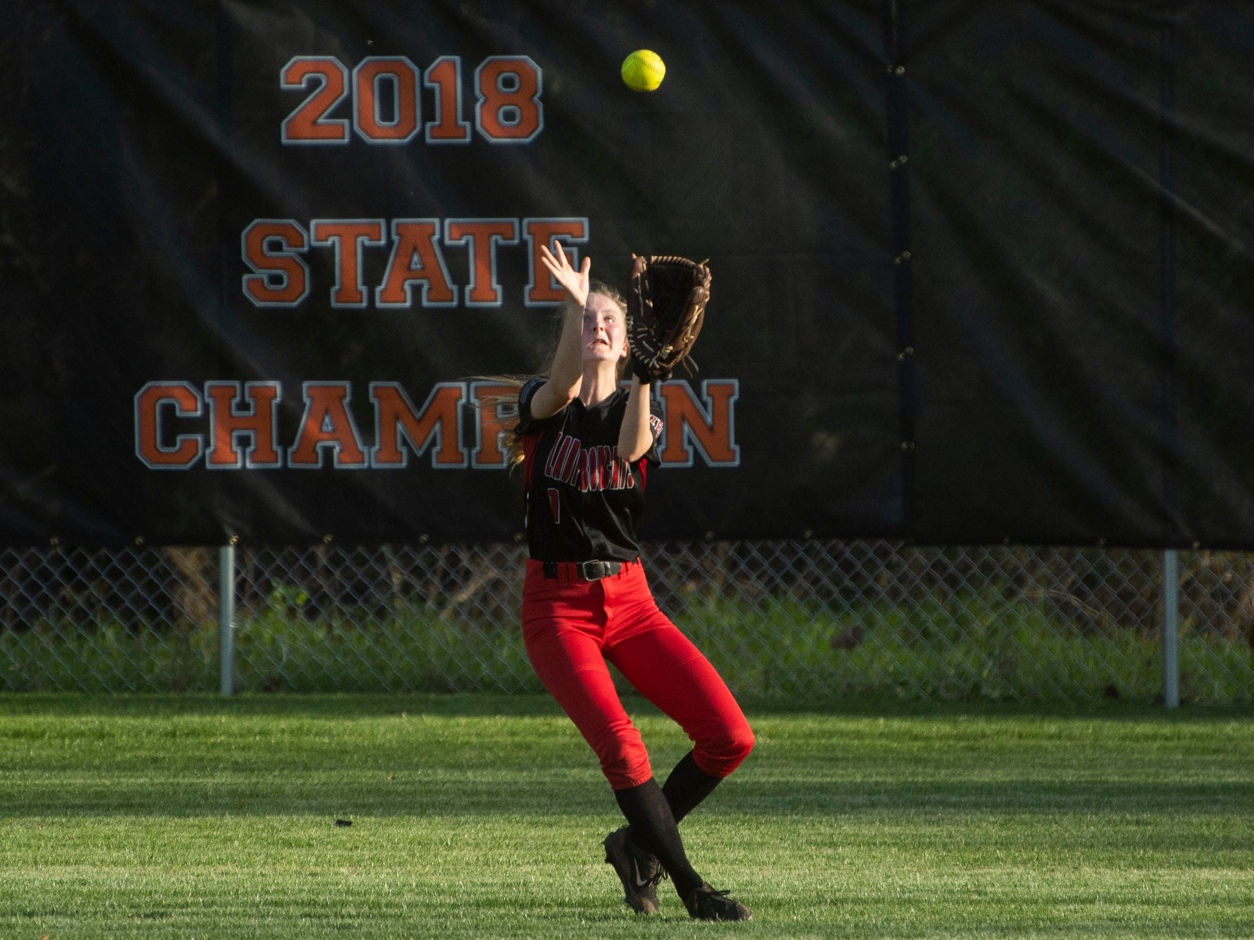 Central's Abby Whisenant (1) catches a fly ball against Powell on Thursday, April 11, 2019.