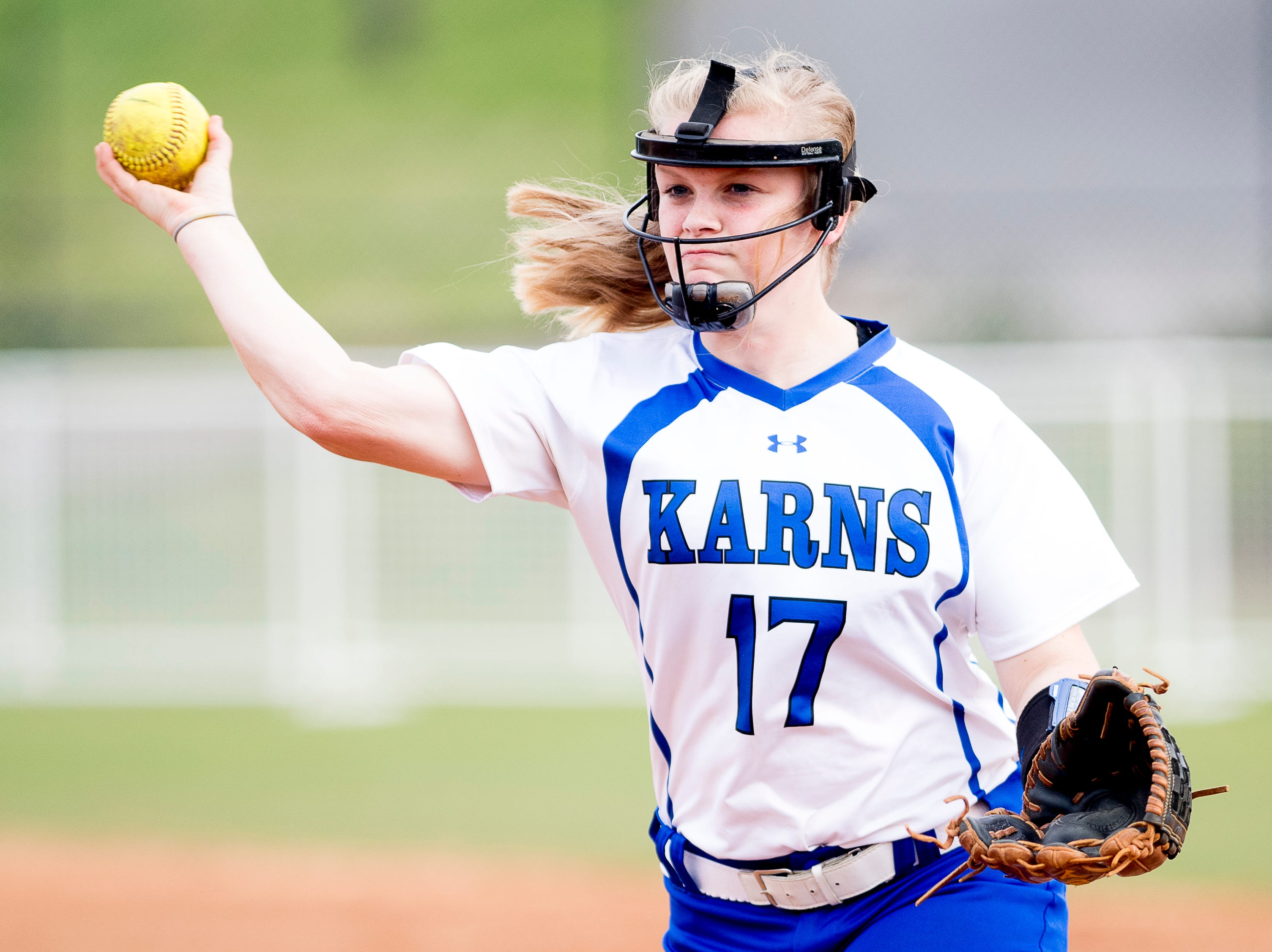 Karns' Kelcie Jade Grubb (17) throws the ball during a softball game between Catholic and Karns at Caswell Park in Knoxville, Tennessee on Friday, April 12, 2019.