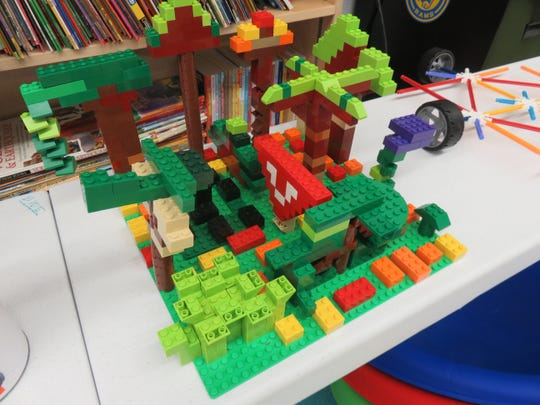 One of the ecosystems made out of Lego pieces constructed in Lisa Wilkins' class.