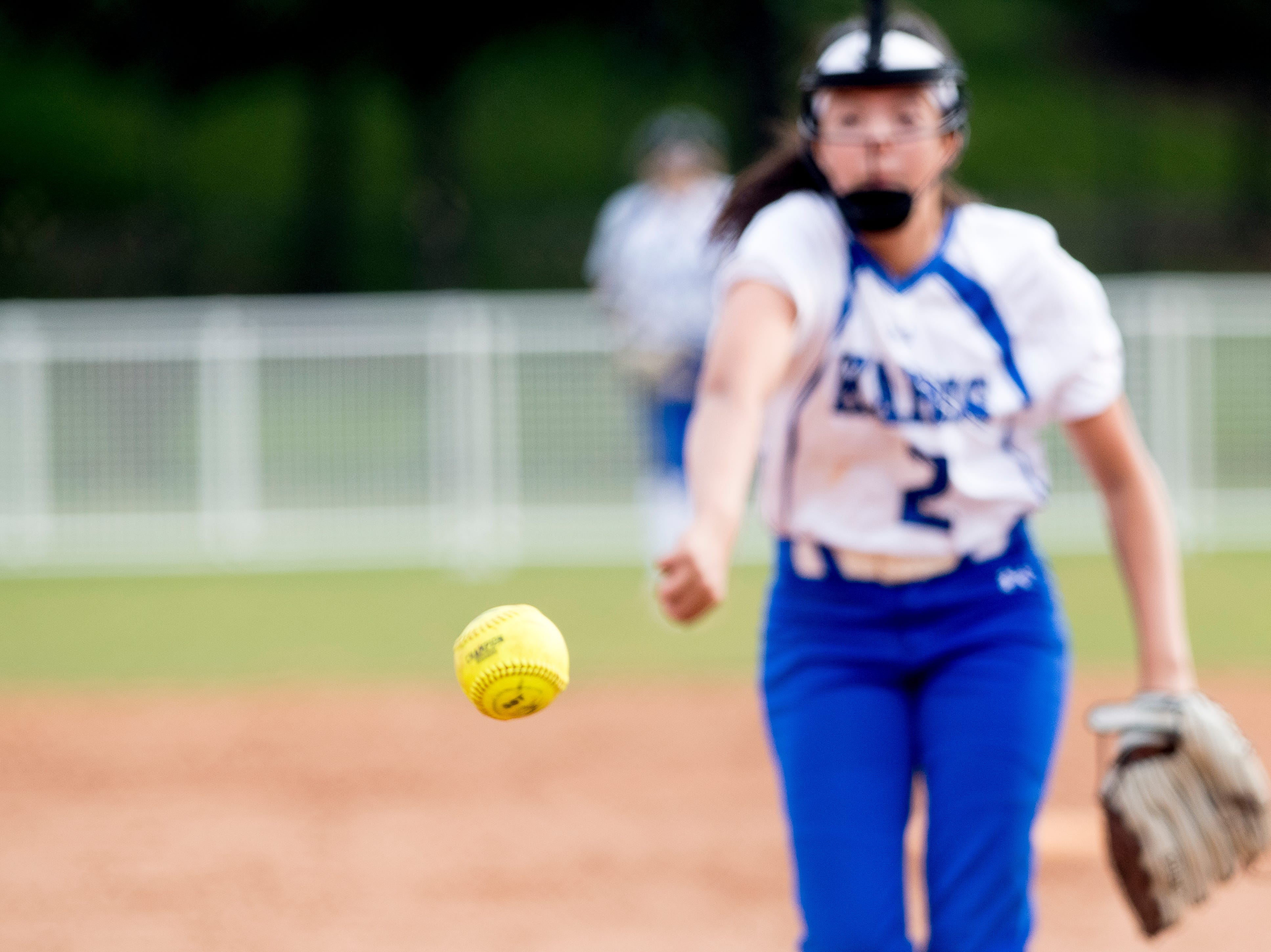 Karns' Kamilla Vincente (2) pitches during a softball game between Catholic and Karns at Caswell Park in Knoxville, Tennessee on Friday, April 12, 2019.