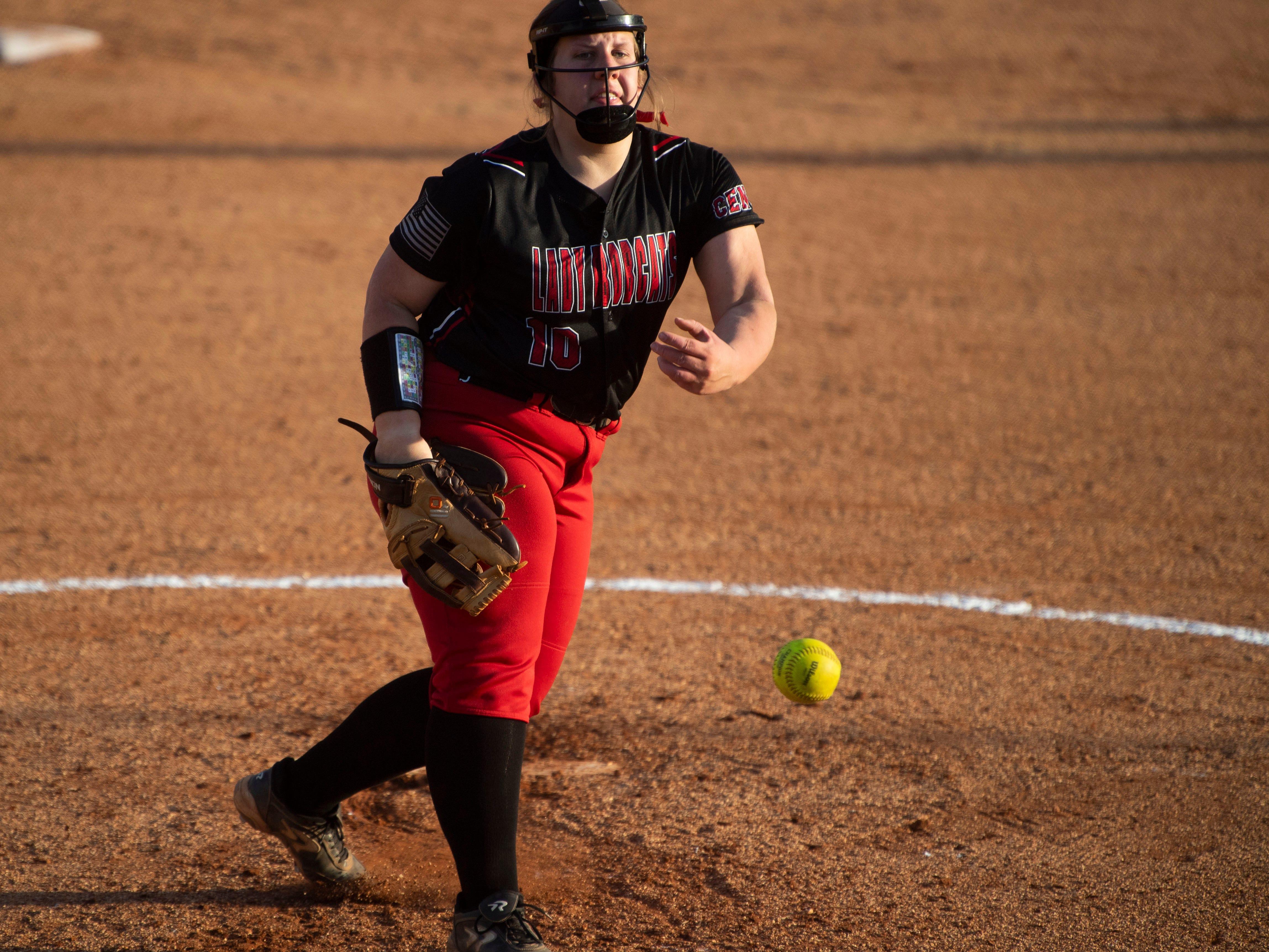 Central's Sarah Hinton (10) pitches against Powell on Thursday, April 11, 2019.
