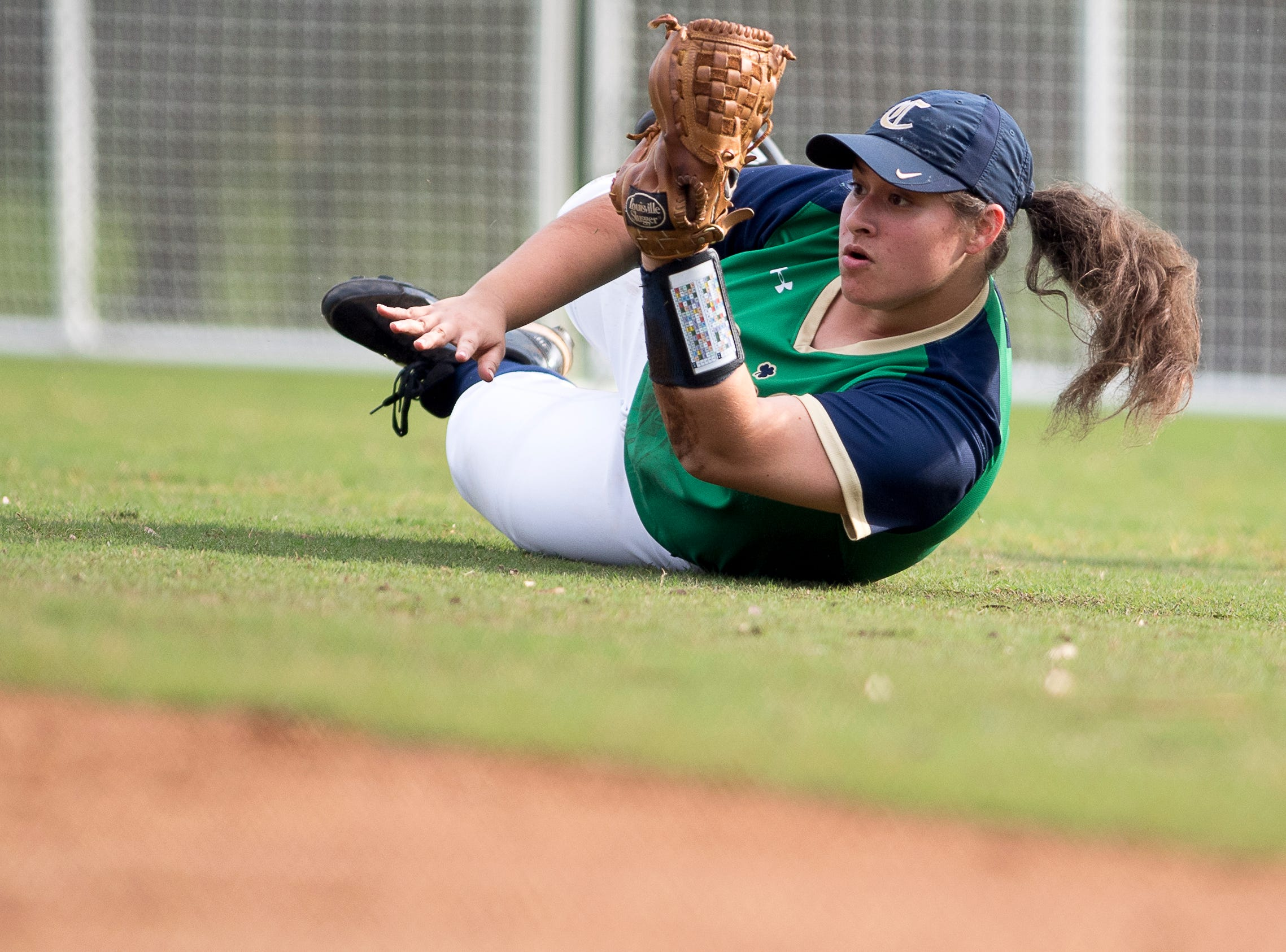 Catholic's Terra Schaeffer (23) makes a catch during a softball game between Catholic and Karns at Caswell Park in Knoxville, Tennessee on Friday, April 12, 2019.
