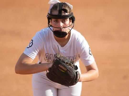 Powell's Allison Farr (12) pitches against Central on Thursday, April 11, 2019.