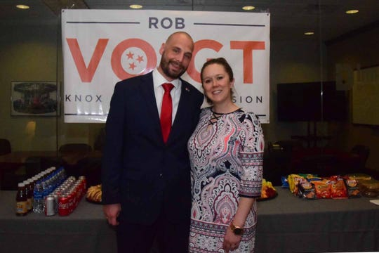 Rob Voigt and his wife, Brittany, at a reception announcing Voigt's candidacy for Knox County Commission District 6 in Hardin Valley Monday, April 8, 2019.