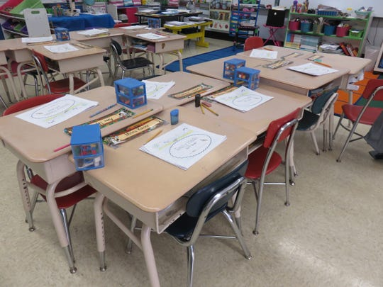 Desks in Lisa Wilkins' classroom are waiting for eager first graders.