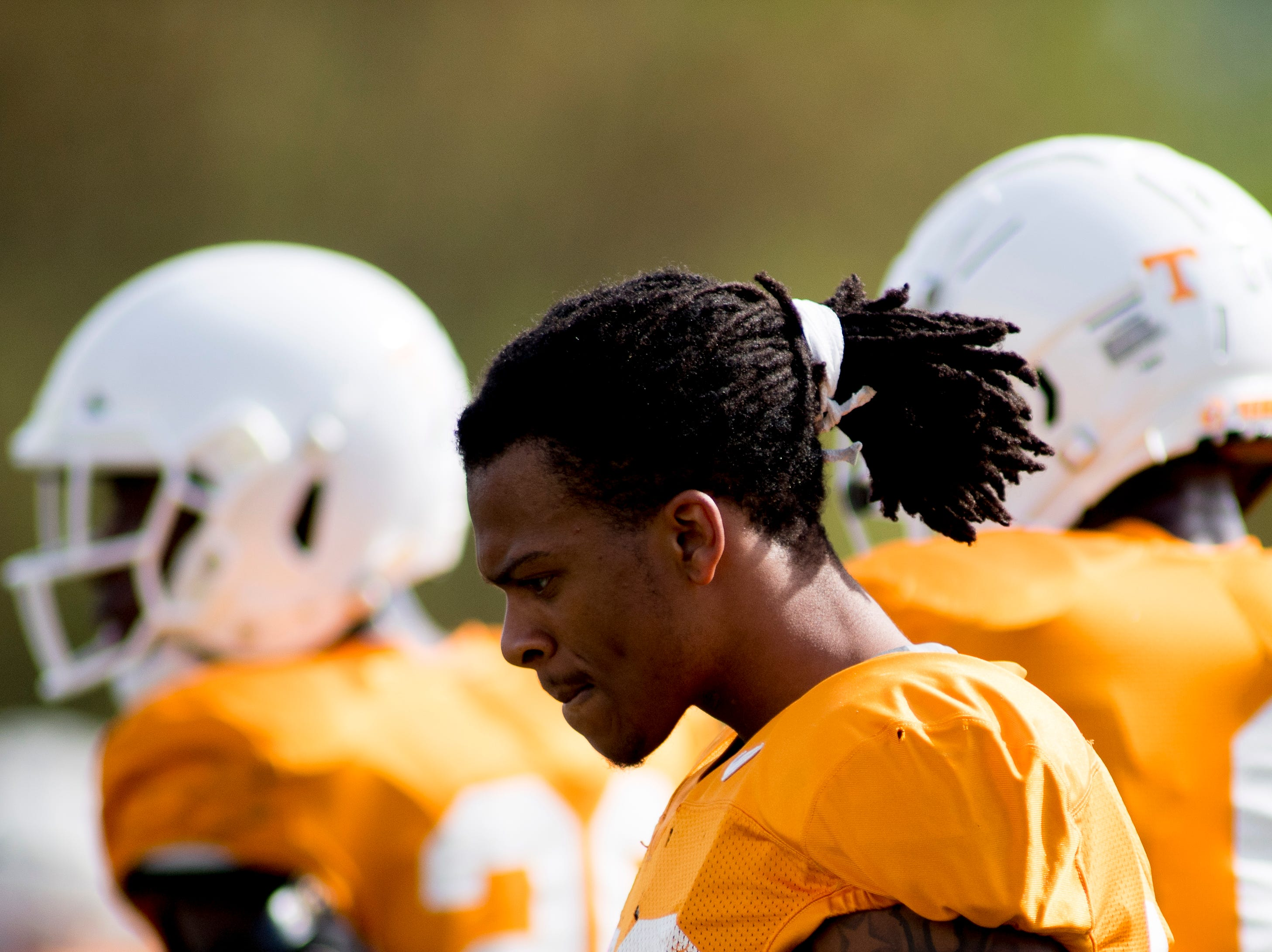 Tennessee's Baylan Buchanan (28) walks down the field during Tennessee spring practice at Haslam Field in Knoxville, Tennessee on Thursday, April 11, 2019.