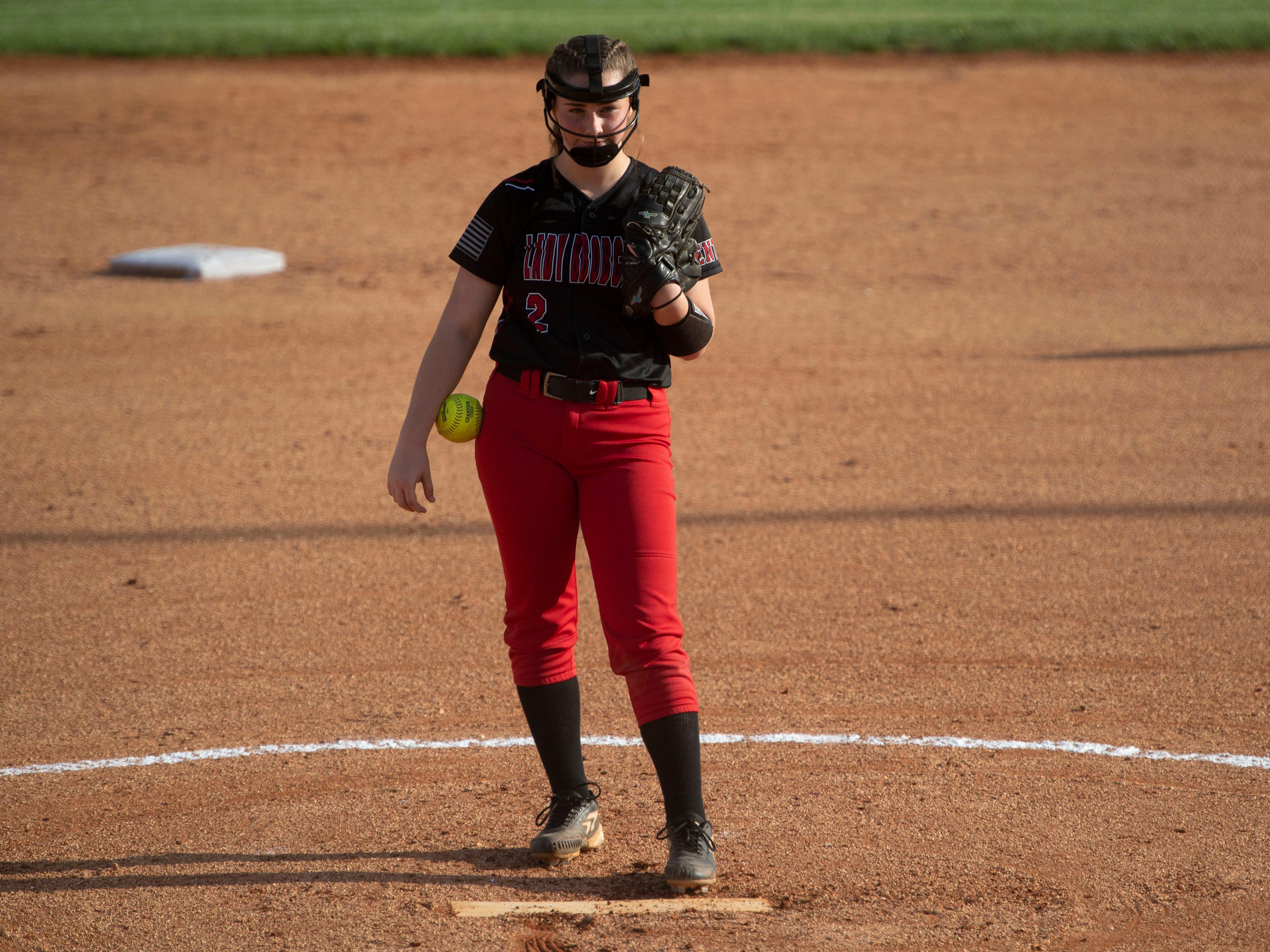 Central's Megan Merritt (2) pitching against Powell on Thursday, April 11, 2019.