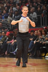 Referee Tyler Ford during the game between the San Antonio Spurs and the LA Clippers on December 29, 2018, at STAPLES Center in Los Angeles, California.