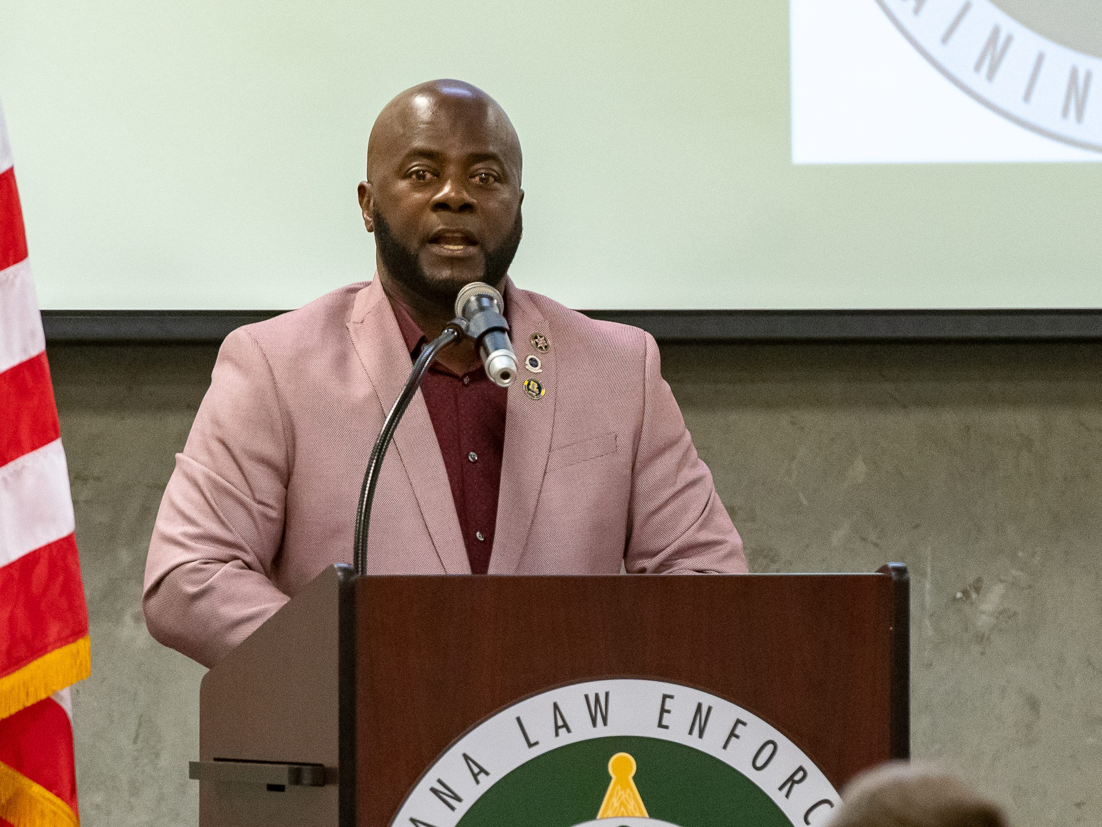 Keynote Speaker Captian Alex Montgomery III, LPSO Retired at the Graduation of Acadiana Law Enforcement Training Academy Class 159. Friday, April 12, 2019.