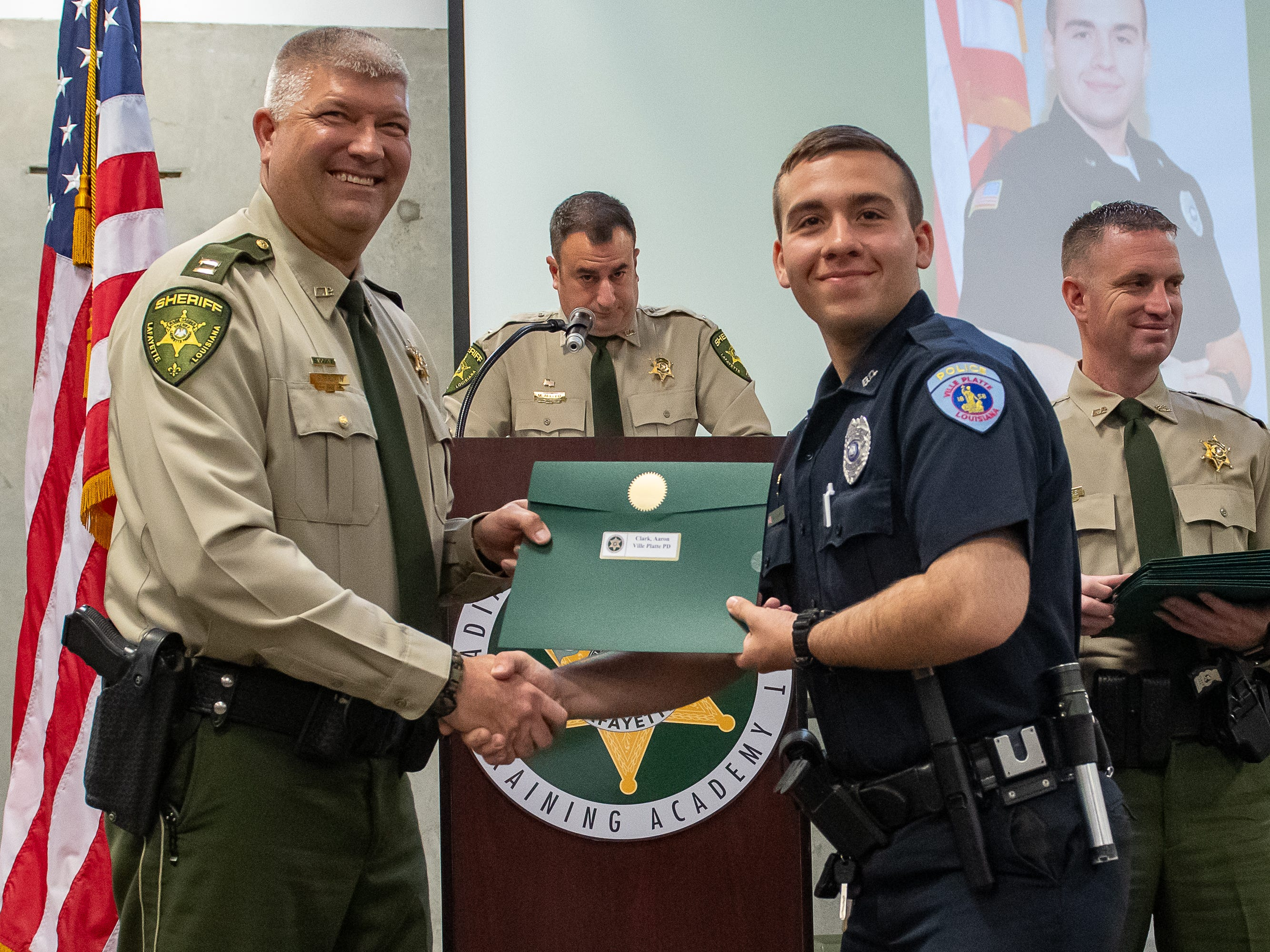 Aaron Clark at the Graduation of Acadiana Law Enforcement Training Academy Class 159. Friday, April 12, 2019.