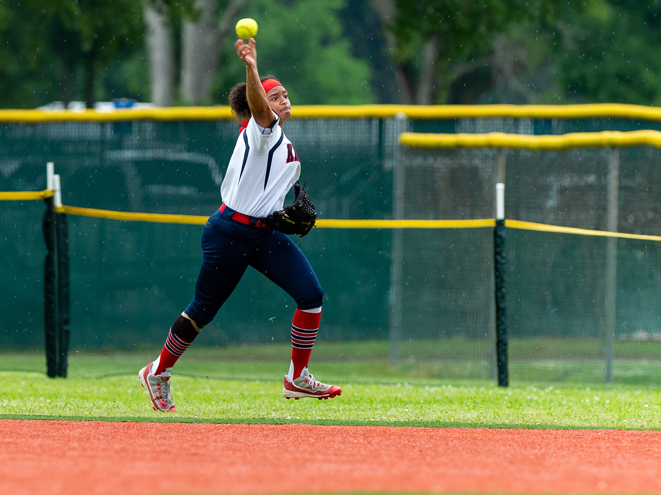 Outfielder Janae Duffy as Lafayette Christian Academy softball takes on University Academy in the forst round of the LHSAA playoffs. Friday, April 12, 2019.