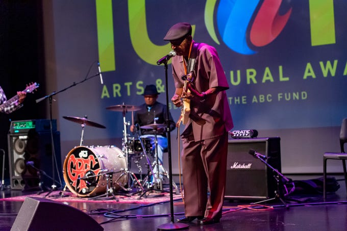 Lil' Buck Sinegal performs after receiving the Lifetime Achievement Award at The 2019 Icon Arts & Cultural Awards Gala honoring Acadiana's Legends. Thursday, April 11, 2019.