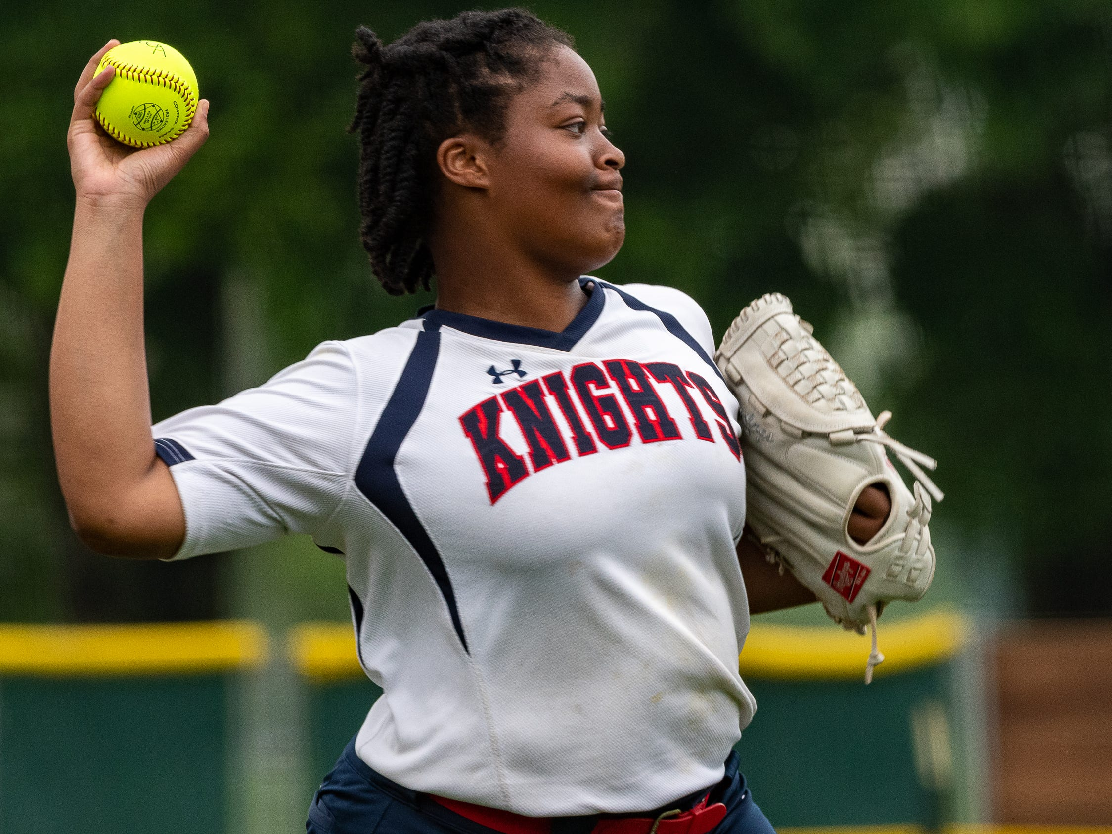 Kam Borel throws out the runner as Lafayette Christian Academy softball takes on University Academy in the forst round of the LHSAA playoffs. Friday, April 12, 2019.
