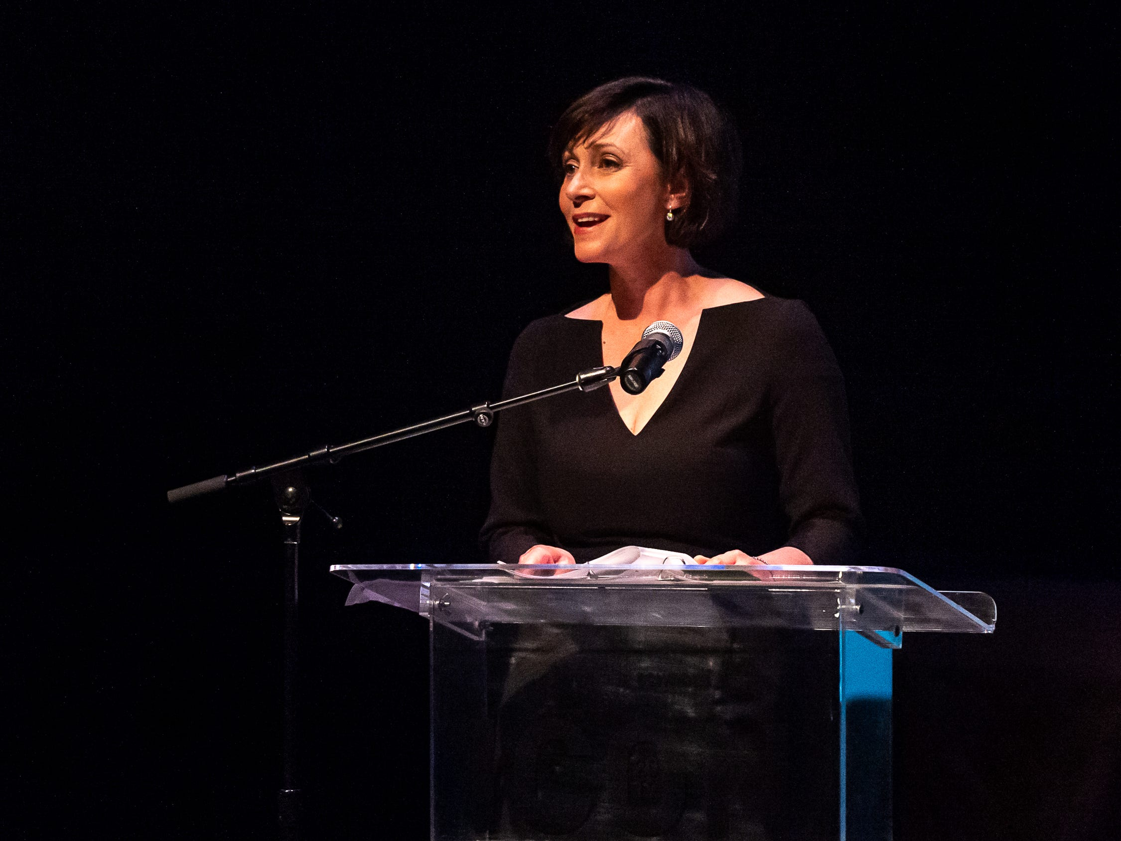 Kim Bishop speaking at The 2019 Icon Arts & Cultural Awards Gala honoring Acadiana's Legends. Thursday, April 11, 2019.