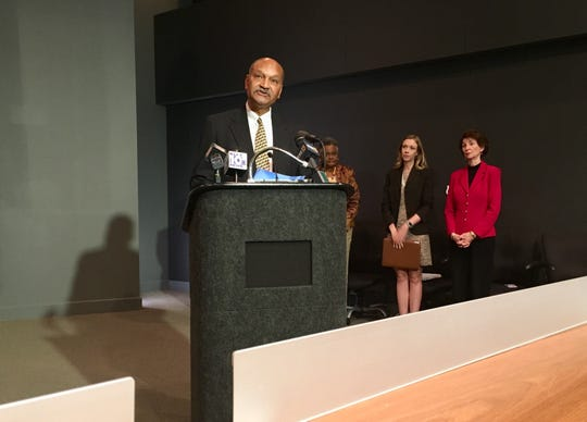 Greg Davis addresses media at a press conference about  T.M. Landry College Preparatory School. Davis is board president and spokesman for the school, which recently moved to Lafayette.