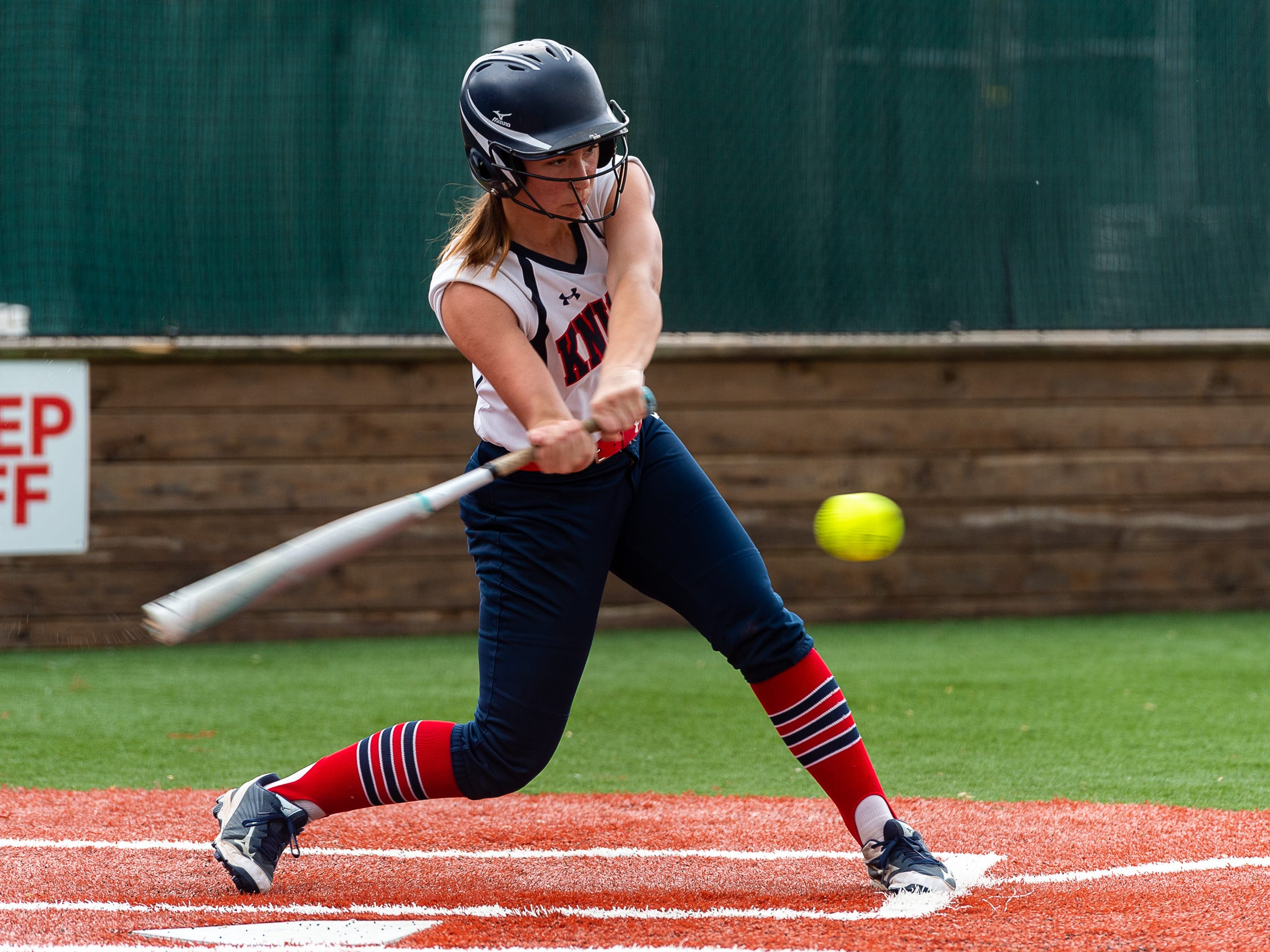 Sarah Diaz at the plate as  Lafayette Christian Academy softball takes on University Academy in the forst round of the LHSAA playoffs. Friday, April 12, 2019.