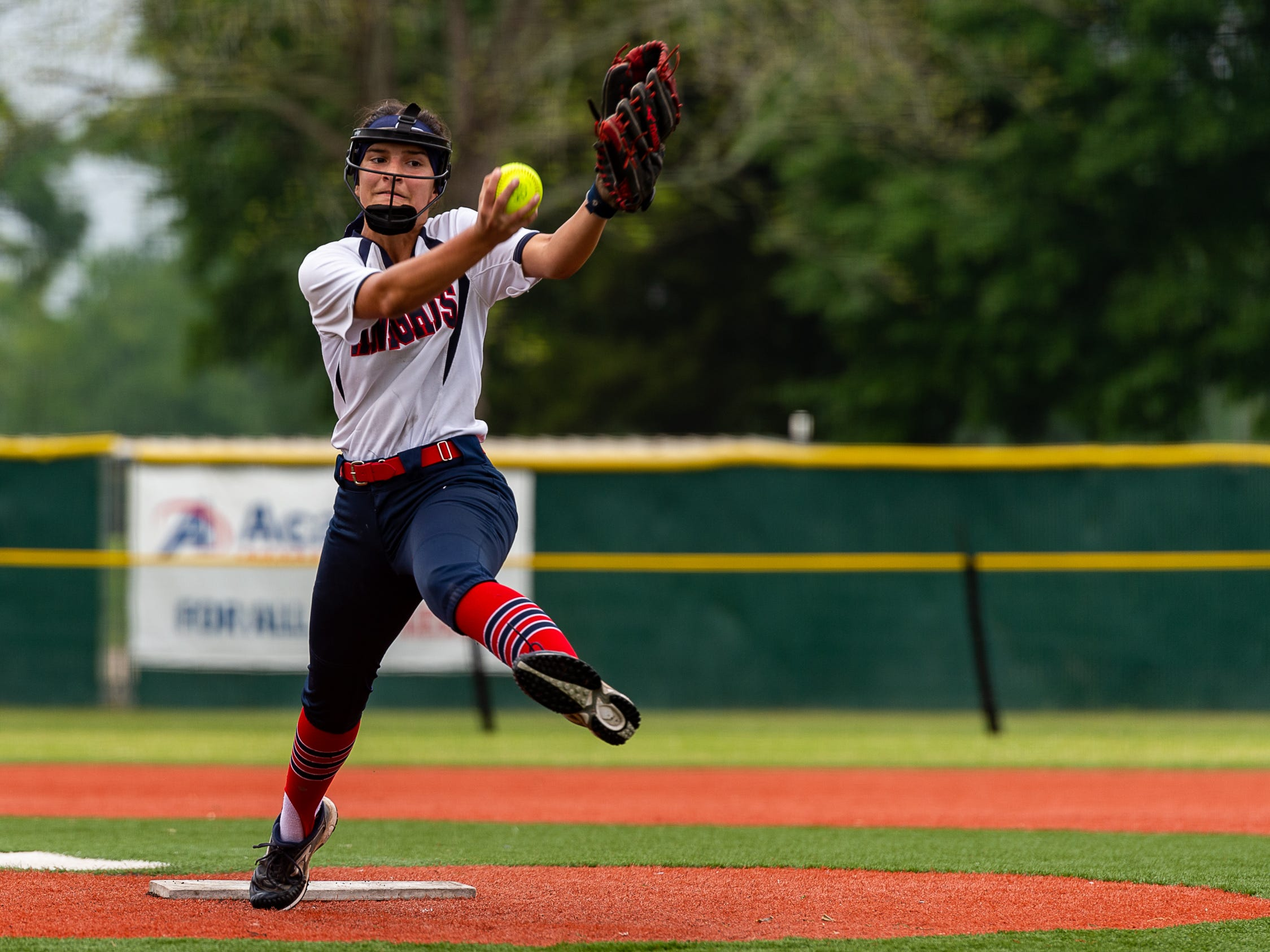 Pitcher Janci Aube' in the circle as Lafayette Christian Academy softball takes on University Academy in the forst round of the LHSAA playoffs. Friday, April 12, 2019.