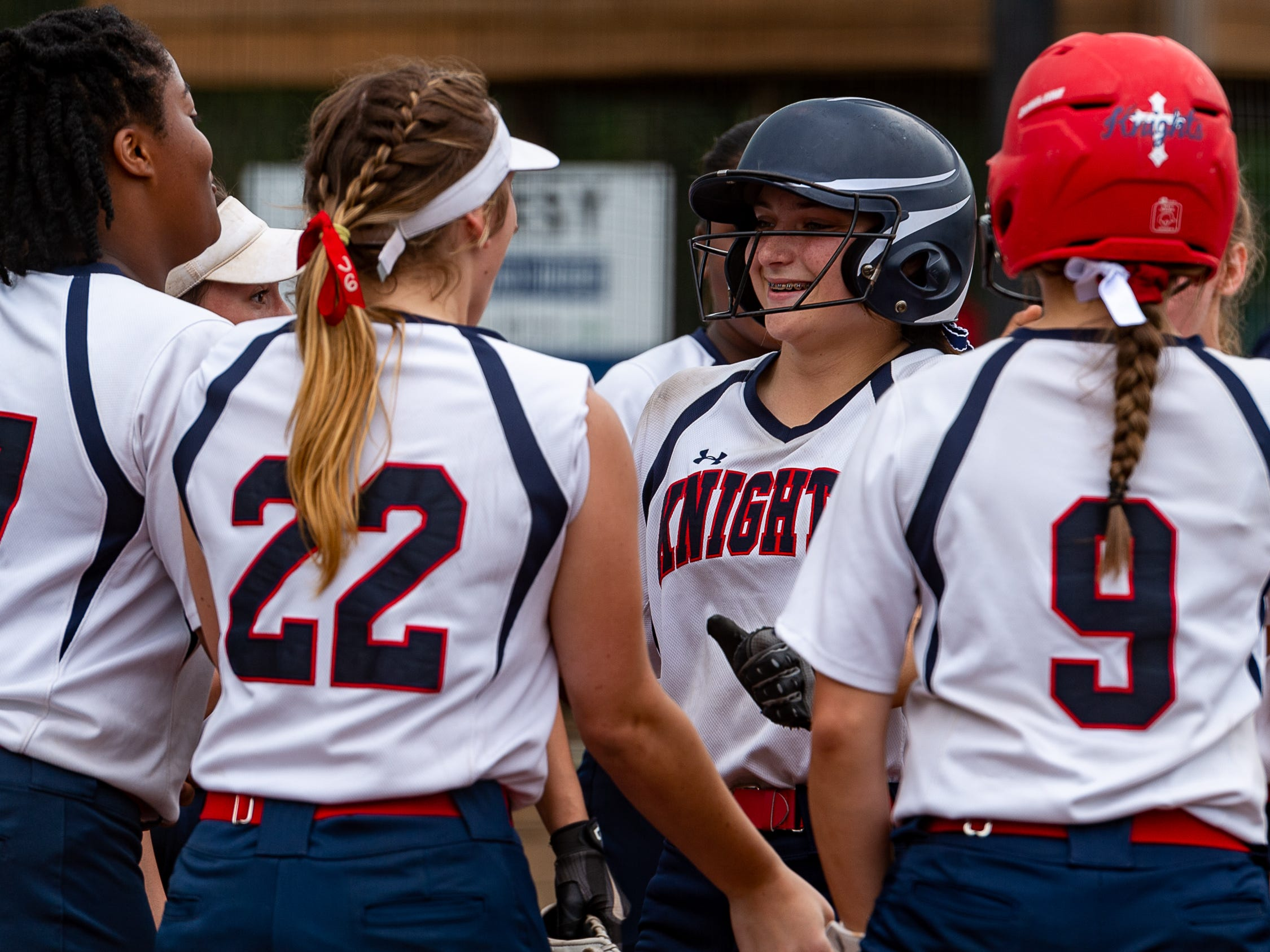 Stevie Credeur hits a home run as  Lafayette Christian Academy softball takes on University Academy in the forst round of the LHSAA playoffs. Friday, April 12, 2019.