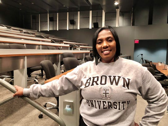 Gina LeBlanc attends a press conference Friday about her daughters' high school, T.M. Landry College Preparatory School. Her daughters now attend elite schools on the East Coast, one at Brown University and one at St. John's University.