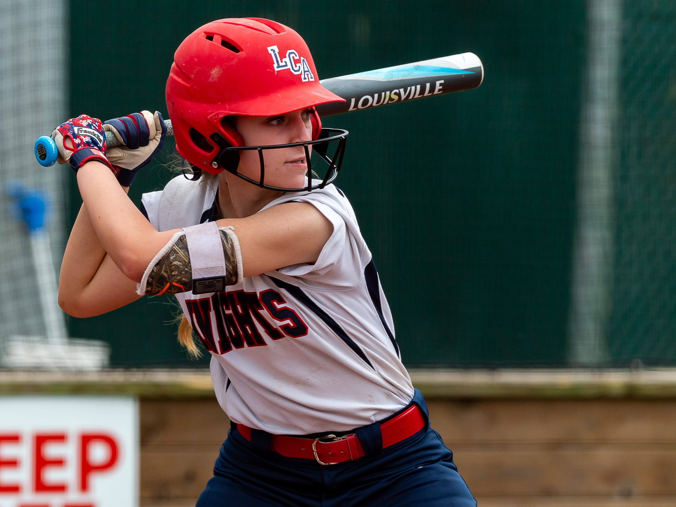 Abby Credeur at the plate as Lafayette Christian Academy softball takes on University Academy in the first round of the LHSAA playoffs. Friday, April 12, 2019.