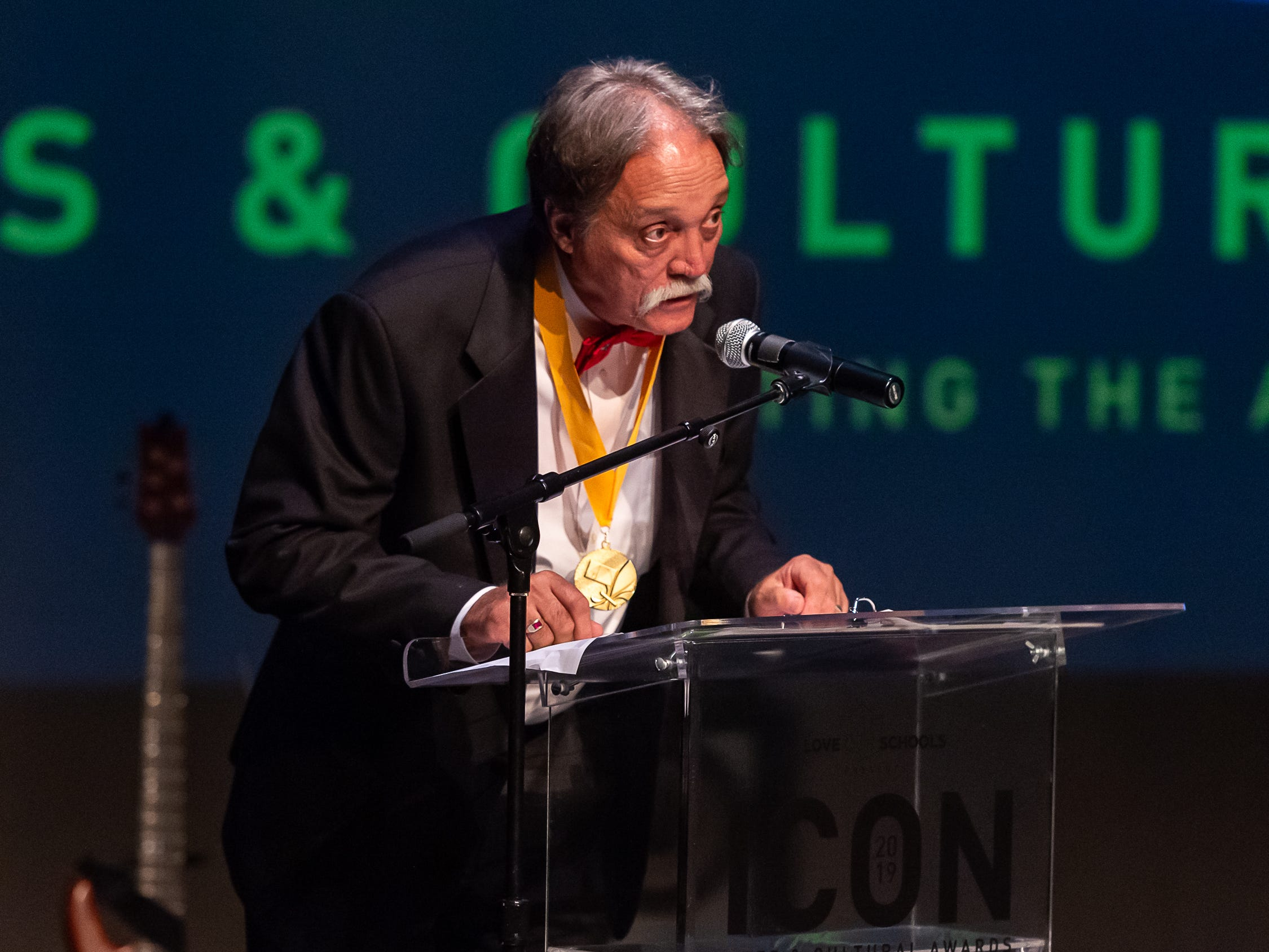 Barry Ancelet speaking at The 2019 Icon Arts & Cultural Awards Gala honoring Acadiana's Legends. Thursday, April 11, 2019.