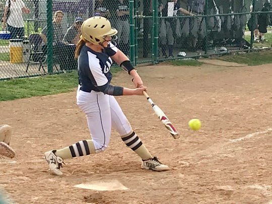 Lancaster senior Madison Arent gets set to hit the ball during the Golden Gales' 9-0 Ohio Capital Conference-Ohio Division win over Pickerington Central on Thursday.