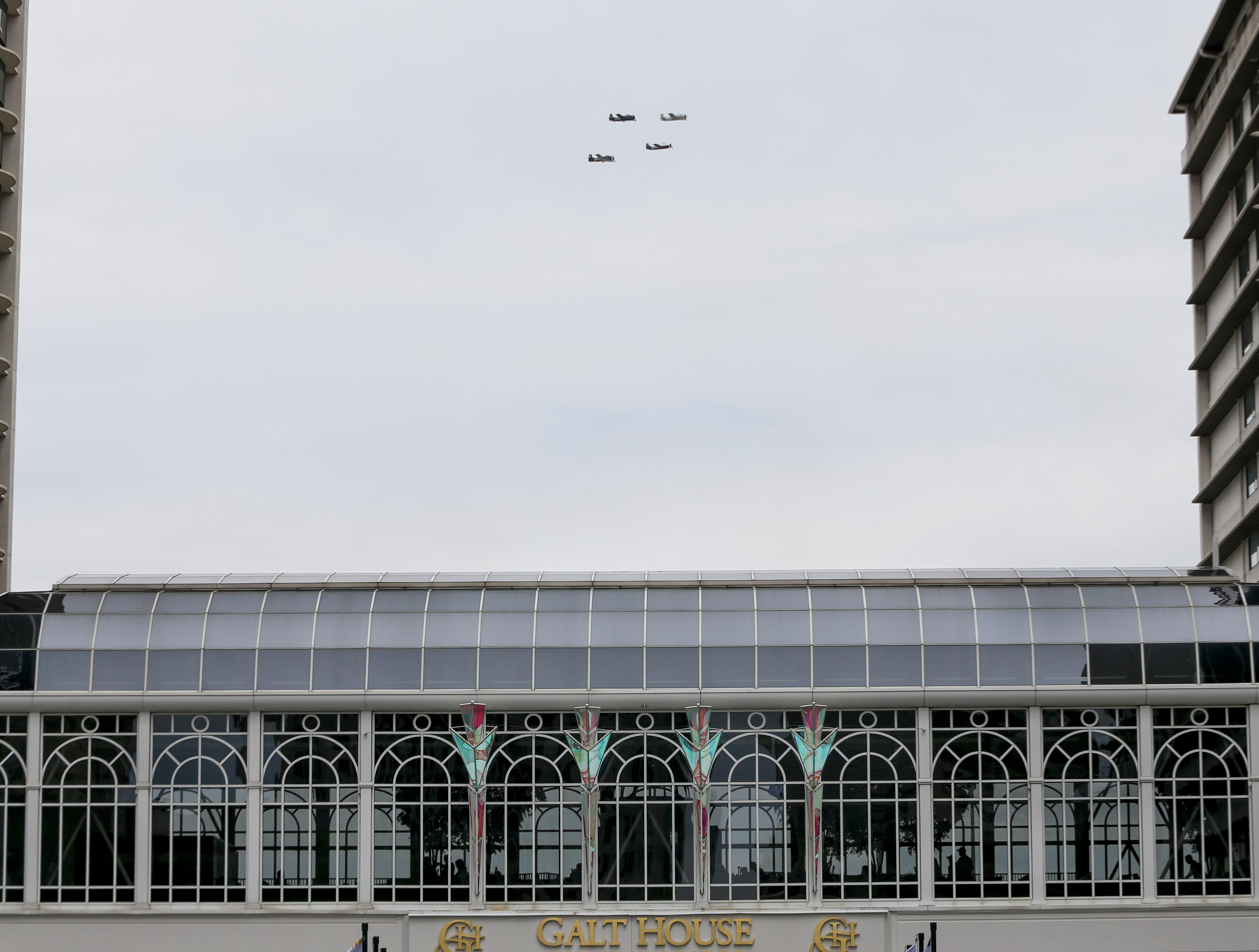 Airplanes practice in downtown Louisville on April 12 in preparation for the big Thunder Over Louisville airshow on Saturday.