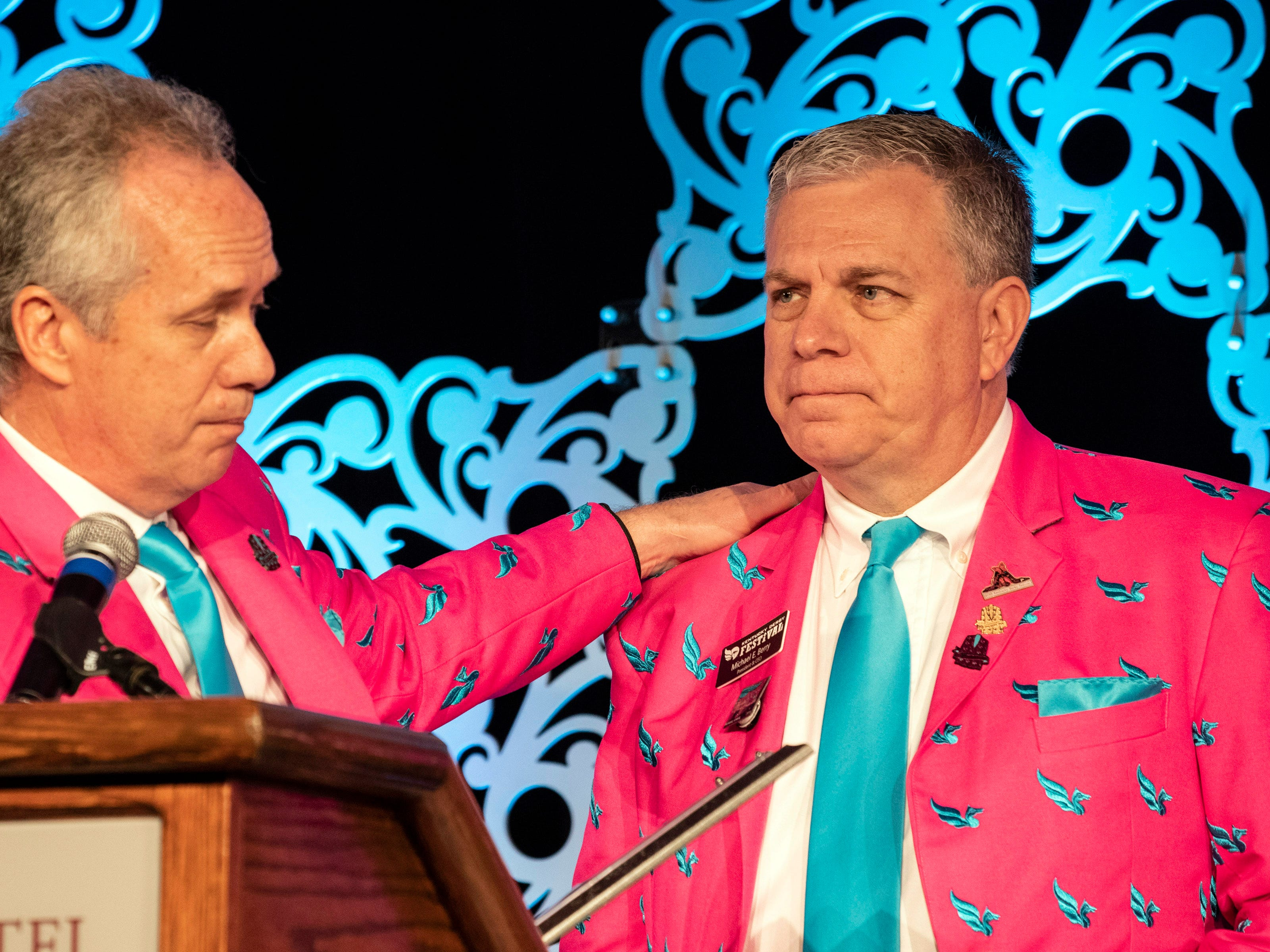 Louisville mayor Greg Fischer honored outgoing KDF CEO Mike Berry in an unscripted moment at the annual They're Off! Luncheon on Friday. Berry has been a part of the Derby Festival organization for the past 33 years. 4/12/19