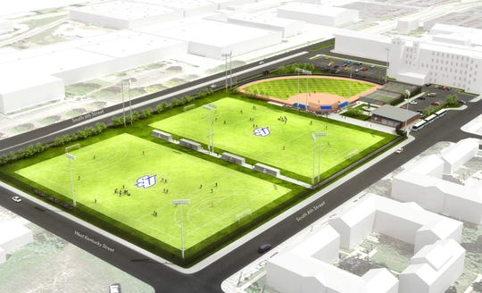 Here's a rendering of Spalding University's future athletic fields complex, to be located at 939 South Ninth St.