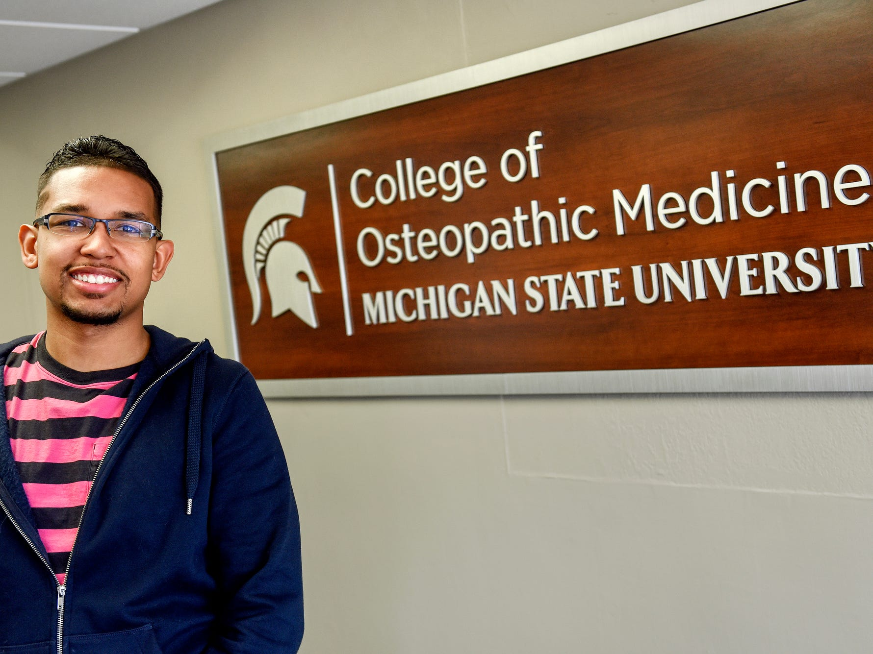 Robert Ray Jr., photographed on Wednesday, March 27, 2019, at the MSU College of Osteopathic Medicine offices in Fee Hall, will be an emergency medicine resident in Allentown, Pennsylvania, after graduating from the College of Osteopathic Medicine in May.