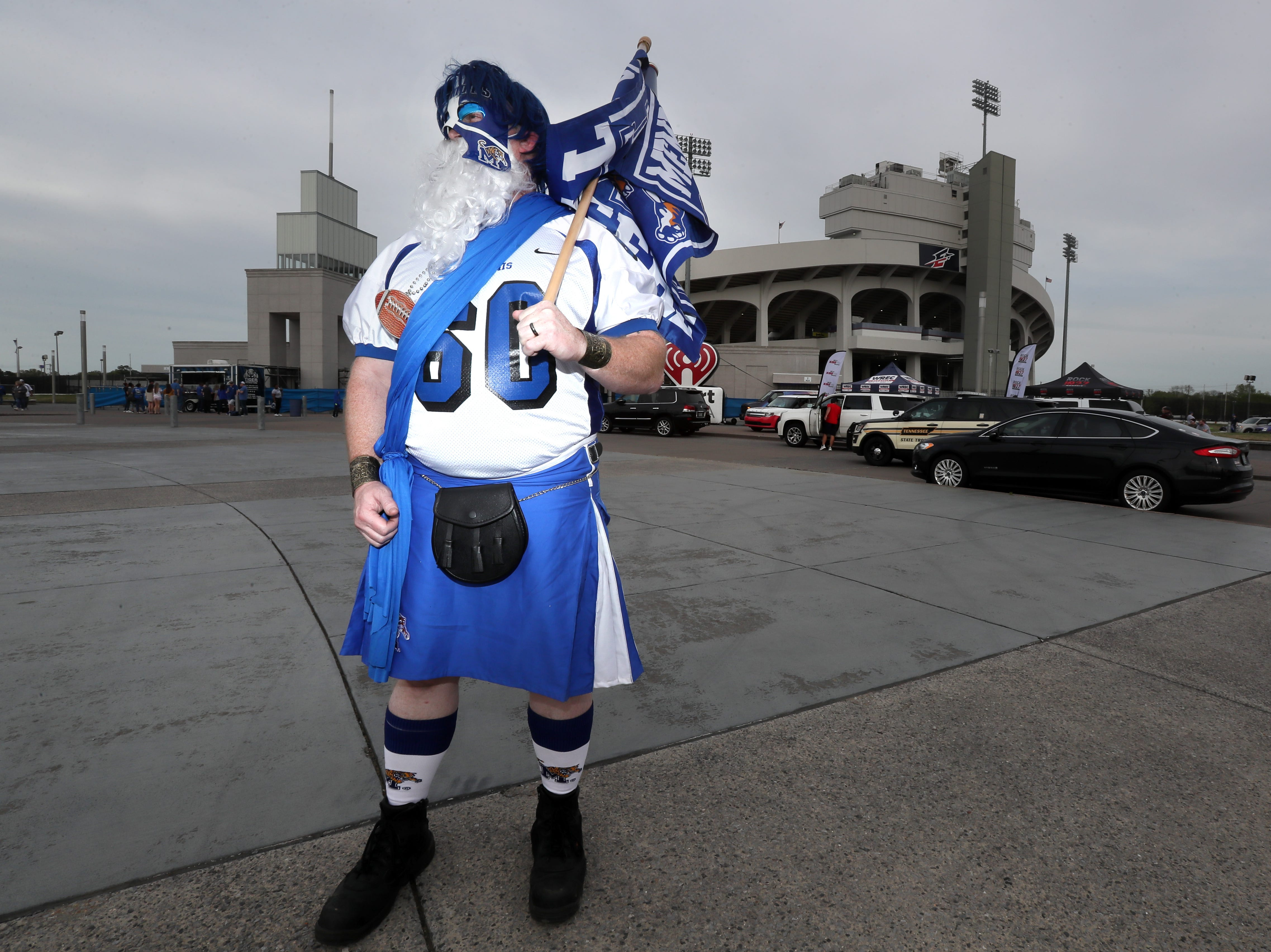 Phillip Glass in his 'Ultimate Tiger' outfit before the team's 'Friday Night Stripes' spring game at Liberty Bowl Memorial Stadium on Friday, April 12, 2019.